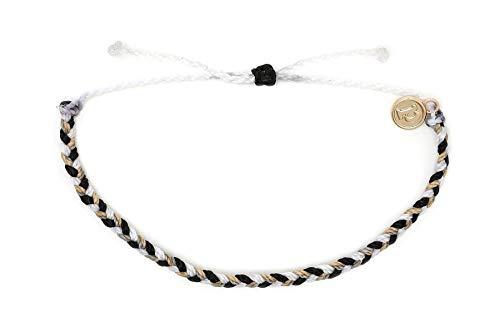 Pura Vida Mini Braided Zebra Beaded Bracelet - Gold Plated Charm, Adjustable Band from Pura Vida