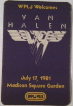 Backstage Pass Van - 1981 7/17 Van Halen Radio Promo Backstage Pass New York City,NY