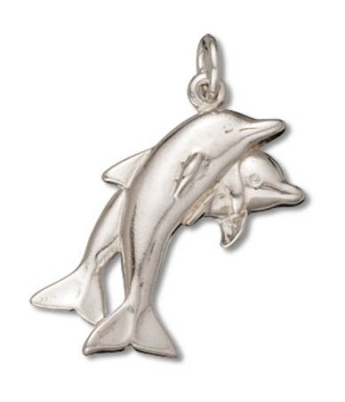 (Raposa Elegance Sterling Silver Polished Small Double Dolphin Charm Pendant (24 x 13 mm))