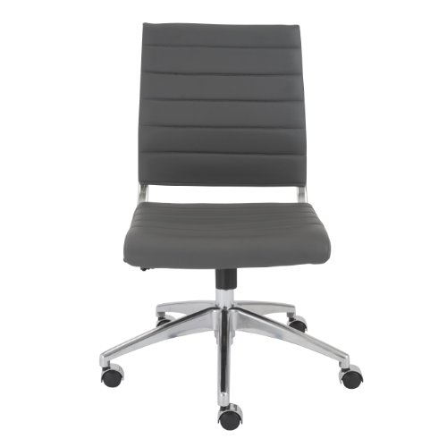 Euro Style Axel Low Back Soft Leatherette Adjustable Armless Office Chair with Chromed Steel Frame, Gray