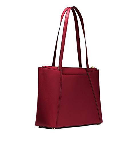 Suede Leather Tote Bag - Michael Kors Maddie Medium East/West Leather Tote- Maroon