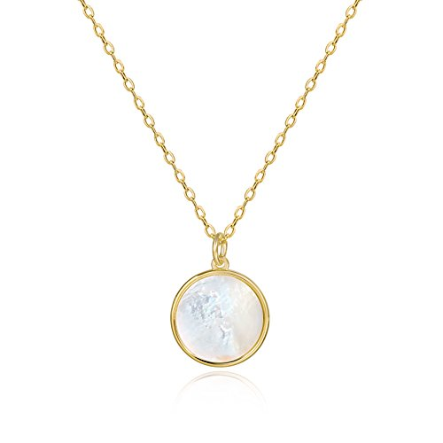 Mother Of Pearl White Gold Necklace - S.Leaf Minimalism Round Mother of Pearl Necklace Sterling Silver Circle Disc Pendant Shell Pendant (Gold)