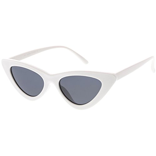 sunglassLA - Womens Exaggerated Frame Cat Eye Sunglases Neutral Colored Lens 48mm (White / - Sunglases White