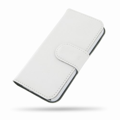 Apple iPhone 5s Ultra Thin Leather Case / Cover (Handmade Genuine Leather) - Book Type (White) by Pdair