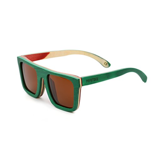 Mini Tree Men Women Skateboard Wood Polarized Sunglasses Wayfarer Style Glasses SW150 (Green, - Glasses Skateboard