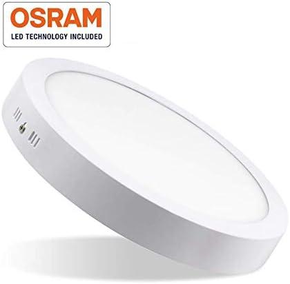 210mm de di/ámetro /· 2 A/ños de Garant/ía /· 6500K Luz Blanca Fr/ía /· Tama/ño Panel LED Circular ARIES /· Downlight LED Redondo de Superficie de 20W con Chip Interior OSRAM /· 2400 Lm Clase E