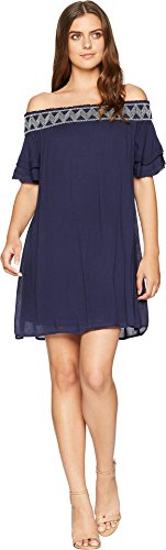 Womens Dress Rose Navy Shoulder The Ruffle Avalyn Off American n0517wqTT
