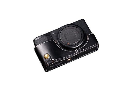 TP RICOH リコー GR / GR II (GR2)用本革カメラケース(電池,SDカード交換可) ブラック B01K4PHTSQ カメラケース&ストラップTP09&バッテリーケース