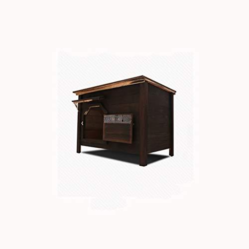 Pequeña ventana sin puertas al aire libre cubierta interior superior de carbón de madera casa de perro casa de perro arena para gatos jaula de perro mascota ...