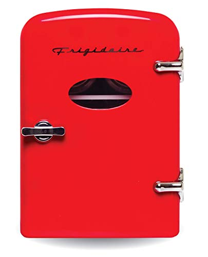 Frigidaire Retro Mini Compact Beverage Refrigerator, Great for keeping office lunch cool! (Red, 6 Can) (Renewed)