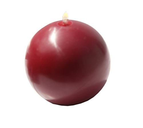 Biedermann Round-Shaped 3-Inch Diameter Ball Candles, Burgundy, Set of 4