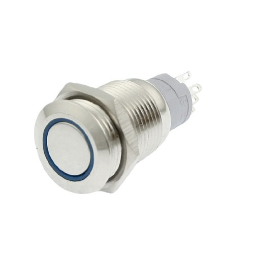 Mm 24v 16 Led (uxcell Blue LED Light 24V 16mm SPDT Round Momentary Stainless Steel Push Button Switch)