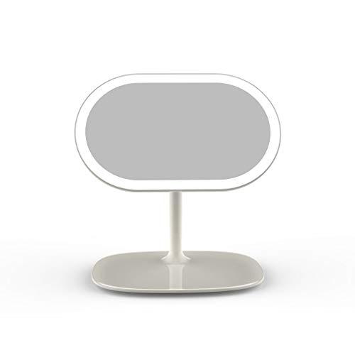 DaFei Vanity Mirror Lights,Rechargeable Desktop LED Rotating Removable Storage Vanity Mirror f Bathroom Bedroom (Color : White) (Tip Rear Split)