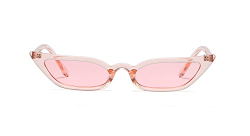 Semi Cateye Sunglasses Thin Narrow Skinny Small Pointed Clear Frame Trendy Chic (Pink, 52)