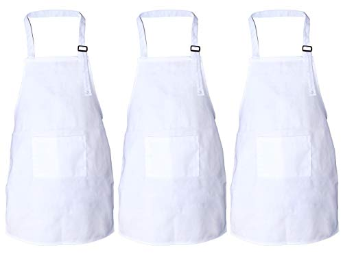 JoyFamily Child Apron Adjustable Kid Bib Aprons Cotton Material with 2 Pockets, Kitchen Chef Painting Aprons for Cooking, Art or Craft Projects(3 Pack, White)