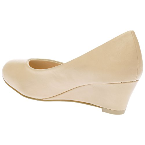 ByPublicDemand Wendy Womens Low Wedge Heel Slip On Smart Court Shoes Beige Nude Faux Leather j0pXwz6c