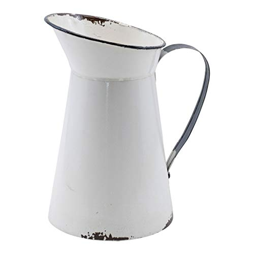 Cheap Farmhouse Style Metal Enamel Pitcher Distressed White with Black Trim and Handle Vintage Inspired Decorative Vase