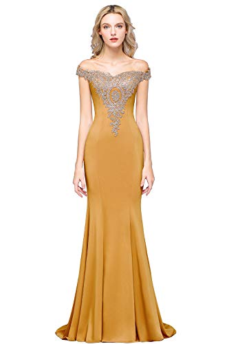 MisShow Prom Long Gold Lace Applique Wedding Dresses for Bride 2019,Mustard 14