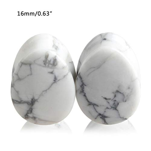 (Natural Stone Teardrop Ear Plugs Tunnel Ear Expander Stretcher Piercing Jewelry (Types - White Turquoise 16mm))