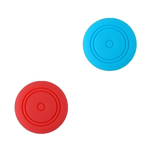 2 x Silicone Thumb Stick Caps Grip Gamepad Analog Joystick for Nintendo Switch NS Controller Joy-Con ThumbStick (Red+Blue)