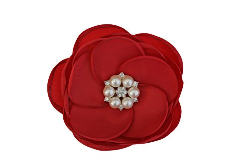 MIA White Satin Flower Rhinestone Pearl Hair Clip Wedding Hair Clip Bridal Hair Clip Bridesmaid Hair Clip First Communion Hairpiece Girls Hair Clip (Red)