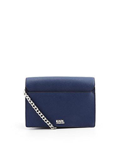 Hombro Lagerfeld Karl Bolso Azul Mujer De 81KW3052BLU Cuero 0qwTqdn