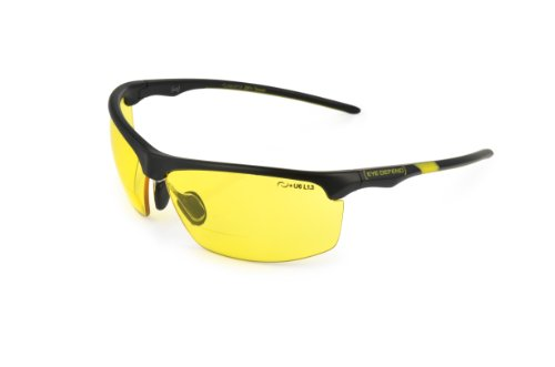 Optx 20/20 Eyedefend Outrigger Safety Reader with bifocal, Black with Black with yellow lens lens, +100, ANSI - One Z Eyewear