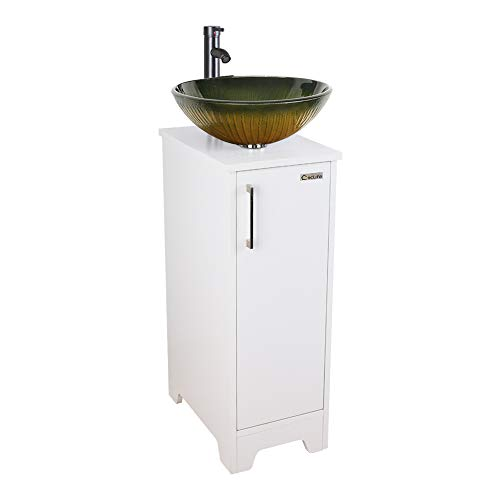 Small Bathroom Vanity Cabinet Sink with Faucet & Drain, Tempered Glass Sink -