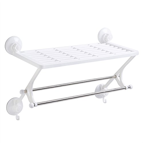 BESTOMZ Dual-use Wall-mounted Towel Rack Kitchen Storage Sucker Racks Towel Hanging Bar Wall Organizer (White) by BESTOMZ