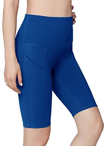 Oalka Women's Yoga Short Side Pockets High Waist Workout Running Shorts Dream Blue L