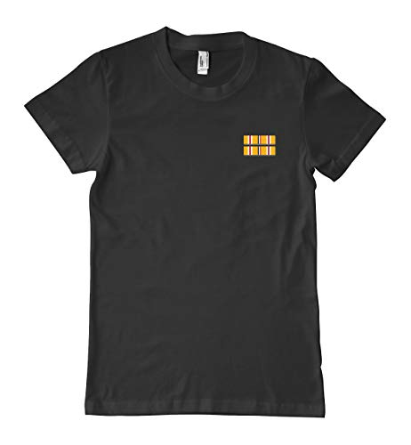 Luna Distributing US Army Asiatic -Pacific Campaign Medal Ribbon Military T-Shirt 100% Cotton Black ()