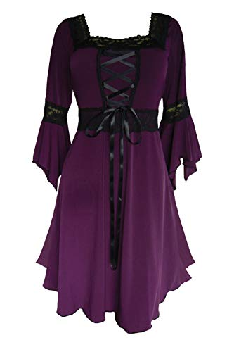 Dare to Wear Renaissance Corset Dress: Victorian Gothic Boho Plus Size Witchy Women's Gown for Everyday Halloween Cosplay Festivals, Plum 4x -