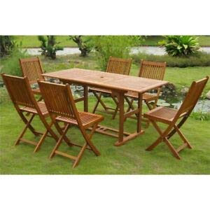 - JumpingLight Royal Tahiti 7 Piece Adjustable Patio Dining Set in Stain Durable and Ideal for Patio and Backyard