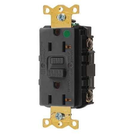 Hubbell GFRST83BK Gfci Receptacle, 20 Amps, Nema Configur...
