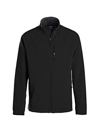 (Landway Men's 3 Layer Micro Fleece Soft Shell Jacket, Black/Charcoal, X-Large)