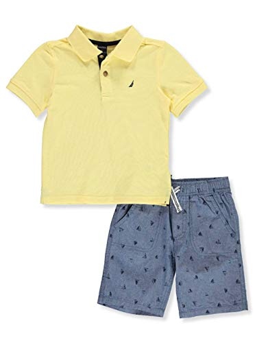 Nautica Sets (KHQ) Boys' Toddler 2 Pieces Polo Shorts Set, Yellow/Blue, 4T ()