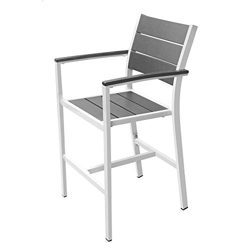 Renovoo Aluminum Stack Counter Hgt Bar Stool with Arms, Pack of 2, Grey Color Plastic Seat and Back Slats with Woodgrain, White Powder Coated Aluminum Frame, 24 inches Seat Height, Outdoor Patio Use