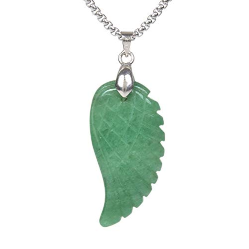 Angel Green Pendant - JUST IN STONES Natural Green Aventurine Gemstone Crystal Healing Reiki Chakra Charm Angel Wing Pendant Necklace 20
