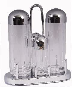 4 Piece Acrylic Condiment Cruet Set on Chrome Plated Tray With S/Steel Handle - Salt, Pepper, Oil & Vinegar - Boxed