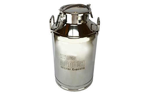 TEMCo 50 Liter 13.25 Gallon Stainless Steel Milk Can Wine Pail Bucket Tote Jug by Temco