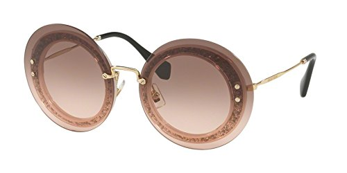 Miu Miu Women's Reveal Glitter Sunglasses, Transparent Pink/Pink, One - Miu Designer Miu Glasses