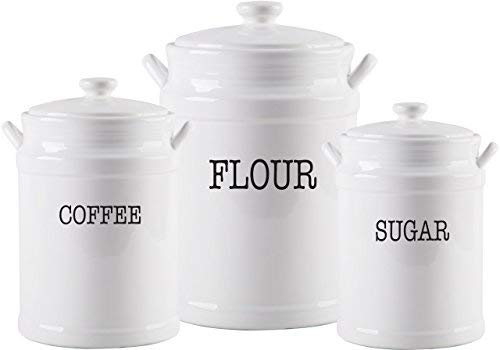Home Essentials Fiddle & Fern Set Of 3 Prep Canisters With - White Canister Set