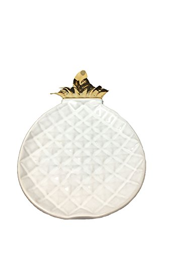 (DII White and Gold Pineapple Shaped Ceramic Plate for Jewelry Ring Dish Tray Organizer, Snack Bread Sugar Dessert Serving Platter (Large))