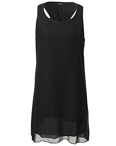 Mujeres Vestido la Correa de Espagueti la Gasa del Verano de la Playa Sin Mangas Vestidos Negro