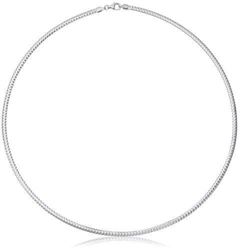 14k Italian White Gold 2.8mm Flexible Omega Chain Bracelet, 17