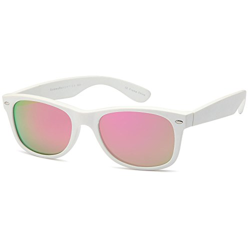 GAMMA RAY Polarized UV400 Sunglasses Large - Mirror Pink Lens on Matte White Frame