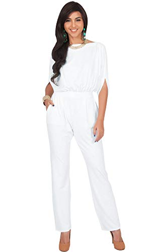 KOH KOH Plus Size Womens Short Sleeve Sexy Formal Cocktail Casual Cute Long Pants One Piece Fall Pockets Dressy Jumpsuit Romper Long Leg Pant Suit Suits Outfit Playsuit, White XL 14-16 (Short Jumpsuit Dressy)