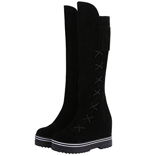 AIYOUMEI Damen Plateau Keilabsatz Kniehohe Stiefel mit Fransen und 8cm Absatz Bequem Modern Langschaft Stiefel Schwarz