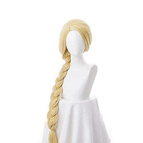 WKS Tangled Wig 47 inch Long Blonde Rapunzel Cosplay Anime Costume for Both adult and Kid. -