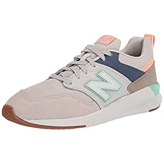 New Balance Women's 009 V1 Sneaker, Moonbeam/Vintage Indigo/Neo Mint, 5 M US
